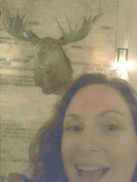 Debbie meets a moose - this time at a bar, not on a trail.