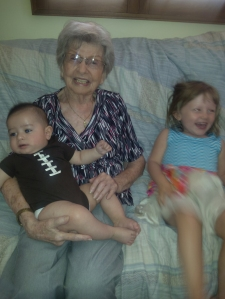 Great grandma Dorothy with Cole and Maya