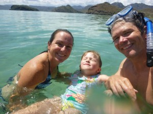 Taking a swim in the crystal clear waters of Playa Santispac in Bahia Concepcion