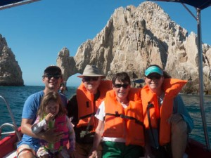 The whole Slobe Family crew in front of Los Arcos in Cabo San Lucas