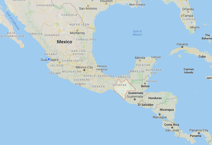 map showing location of Chiapas, Mexico
